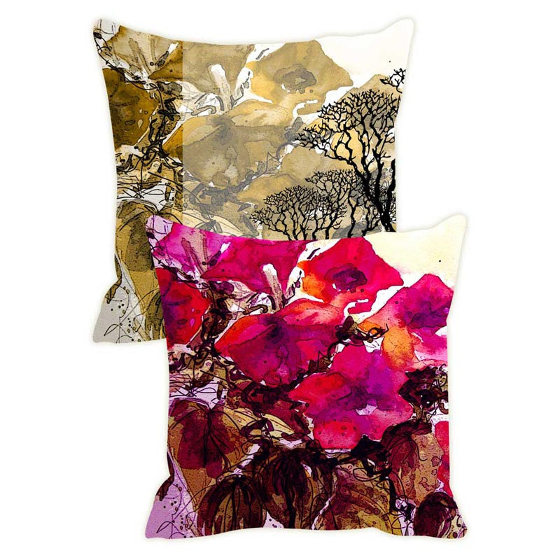 Leaf Designs Yellow Tree Cushion Cover Set Of 2