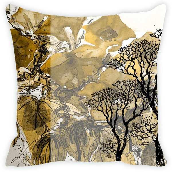 Leaf Designs Yellow Tree Cushion Cover