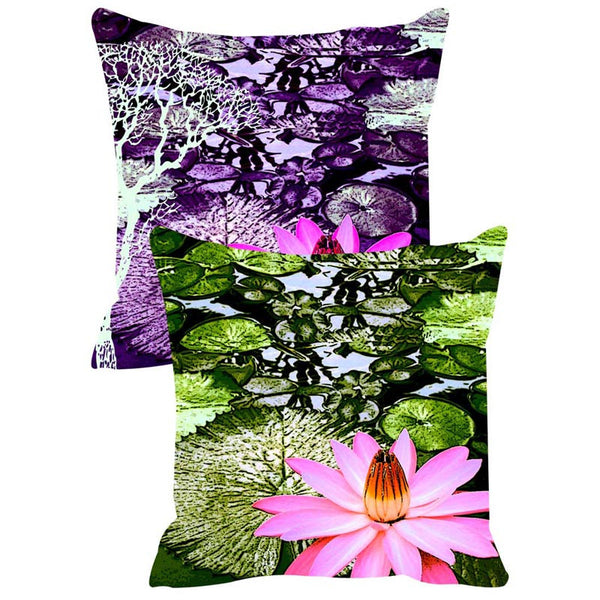 Leaf Designs Purple & Green Cushion Cover Set Of 2