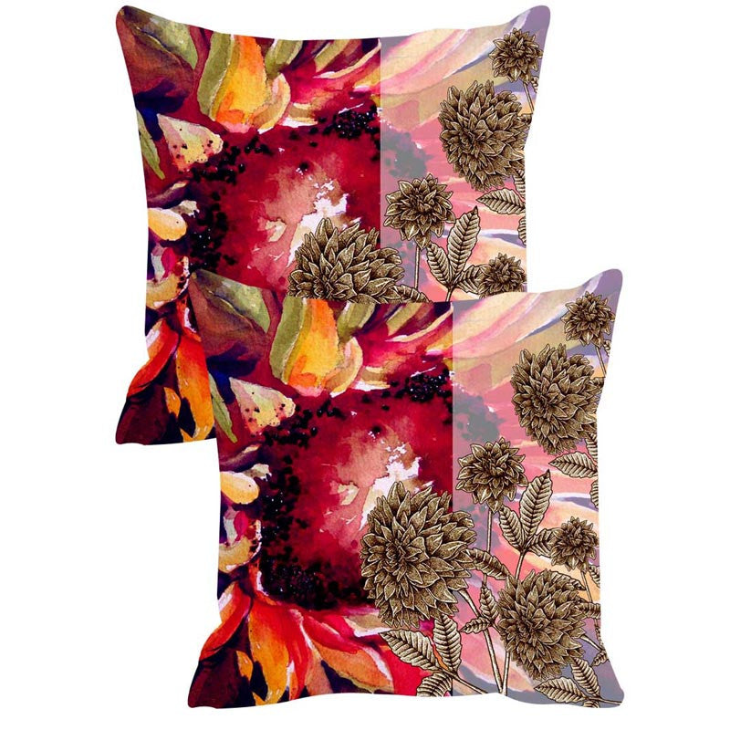 Leaf Designs Multicoloured Cushion Covers Set Of 2 Set Of 2