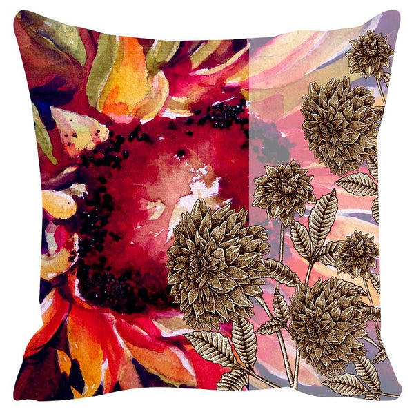 Leaf Designs Red & Khaki Cushion Cover Set Of 2