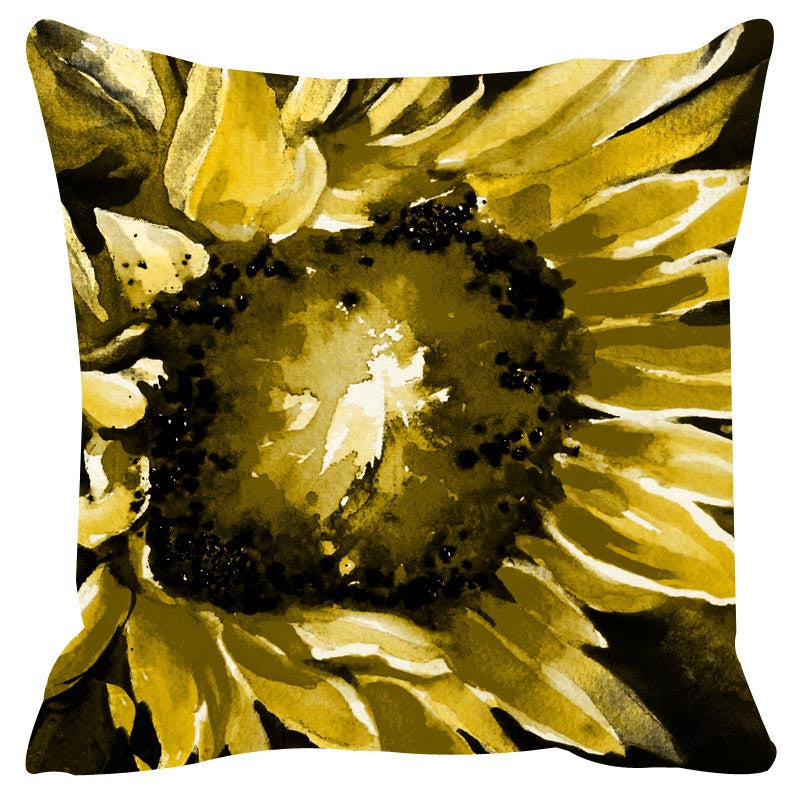 Leaf Designs Yellow & Khaki Cushion Cover Set Of 2