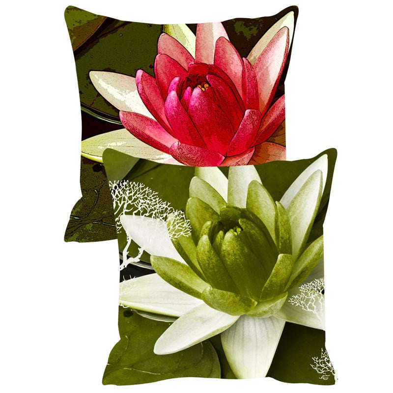 Leaf Designs Red & Green Cushion Cover Set Of 2