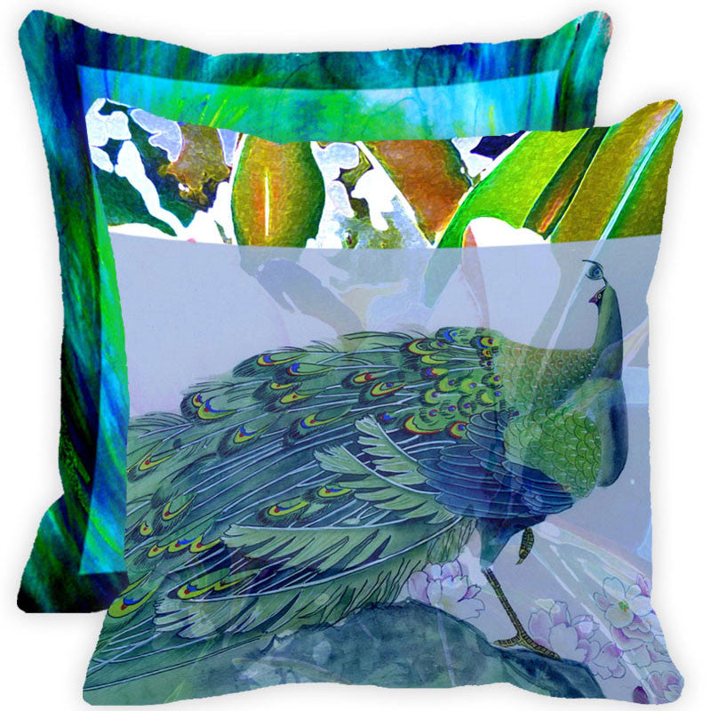 Leaf Designs Blue And Multicolour Peacock Feather Cushion Cover - Set Of 2