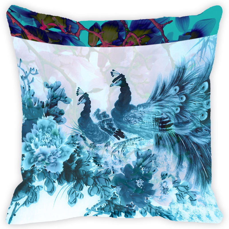 Leaf Designs Turquoise Peacock Cushion Cover