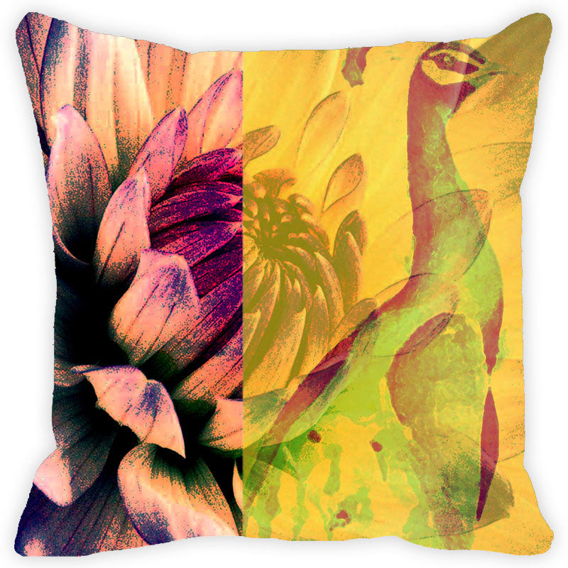 Leaf Designs Floral Peacock With Multicolour Feather Cushion Cover (A) - Set Of 2