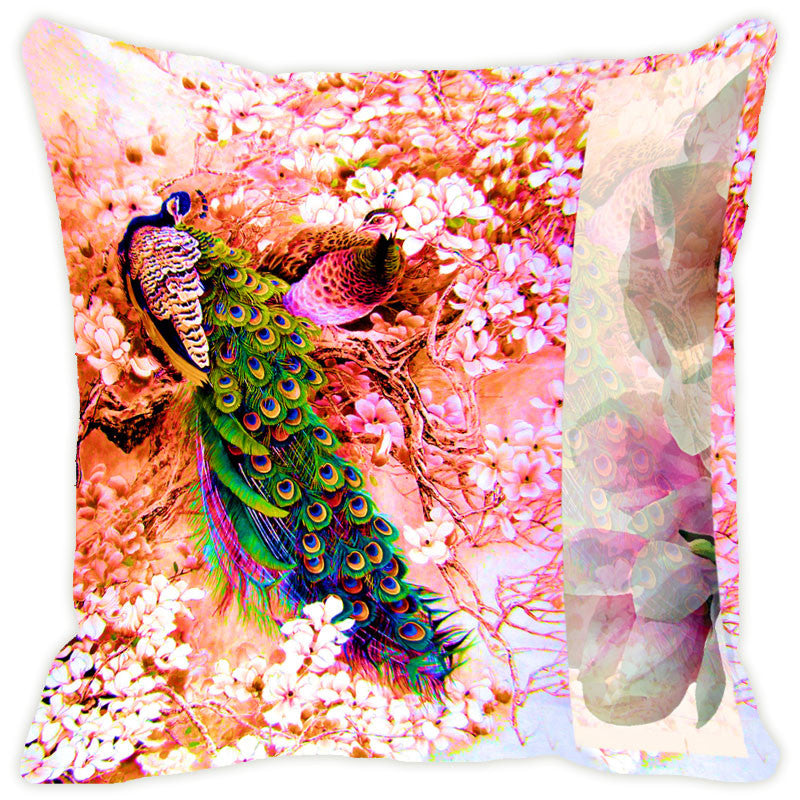 Leaf Designs Pink Floral Peacock With Multicolour Feather Cushion Cover - Set Of 2
