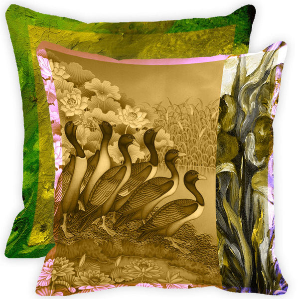 Leaf Designs Vintage Peacock With Multicolour Feather Cushion Cover (A) - Set Of 2