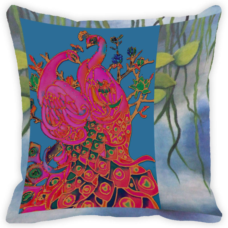 Leaf Designs Pink And Multicolour Peacock Feather Cushion Cover - Set Of 2