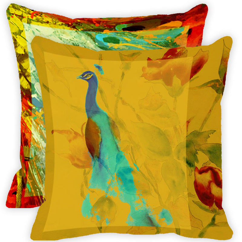 Leaf Designs Yellow And Multicolour Peacock Feather Cushion Cover (A) - Set Of 2
