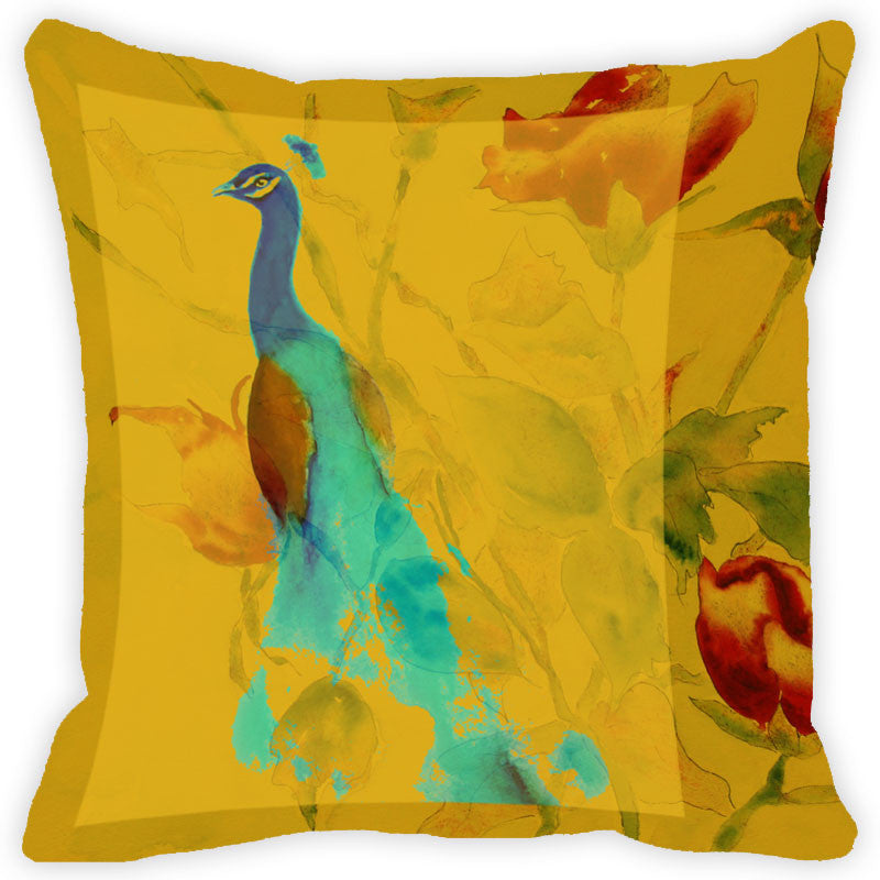 Leaf Designs Yellow Peacock Cushion Cover (A)
