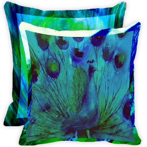 Leaf Designs Blue And Multicolour Peacock Feather Cushion Cover (A) - Set Of 2