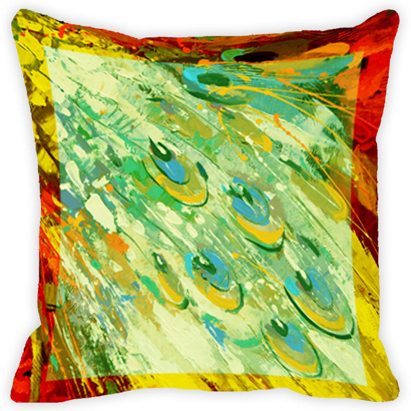 Leaf Designs Yellow And Multicolour Peacock Feather Cushion Cover (B) - Set Of 2