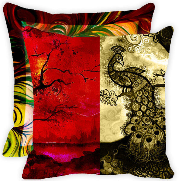Leaf Designs Red And Multicolour Peacock Feather Cushion Cover (A) - Set Of 2