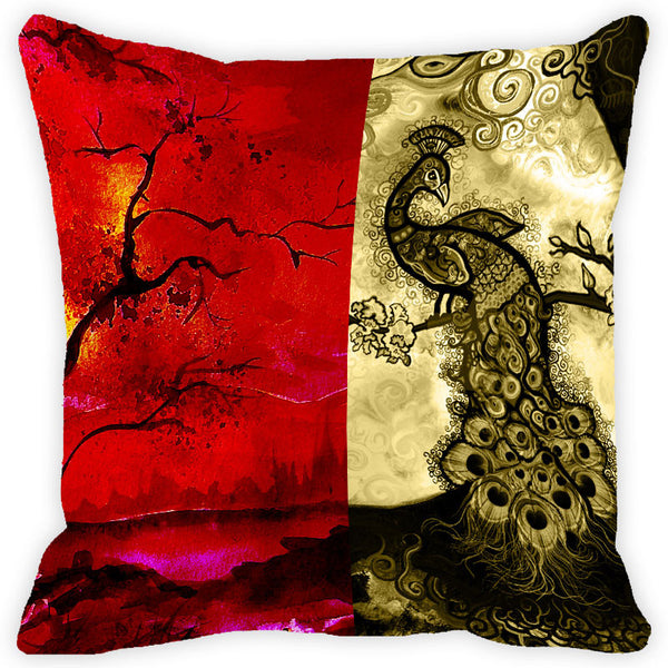 Leaf Designs Red Peacock Cushion Cover (A)