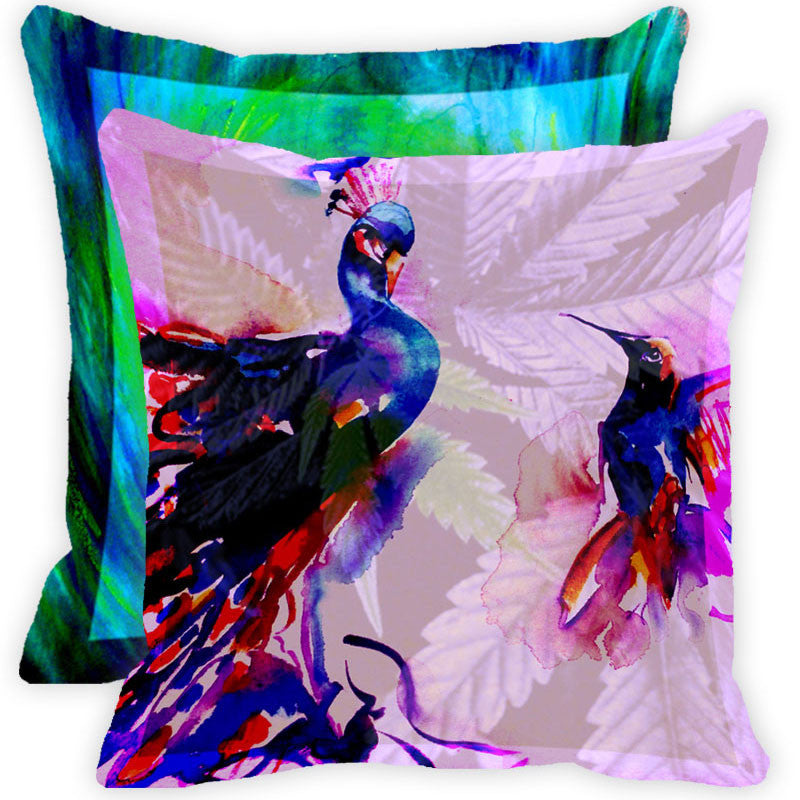Leaf Designs Multicolour Peacock And Feather Cushion Cover (A) - Set Of 2