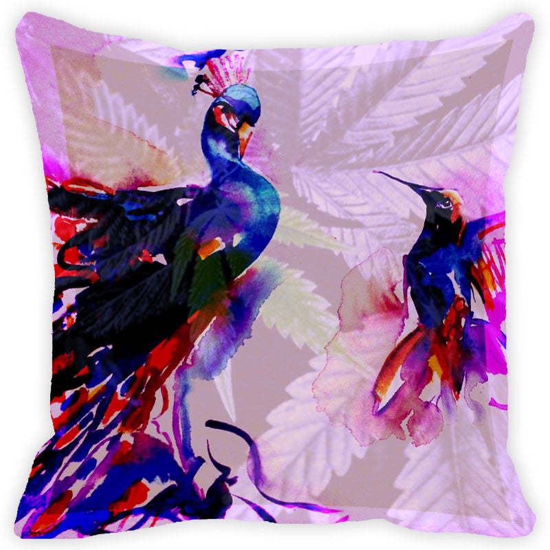 Leaf Designs Multicolour Peacock Cushion Cover (A)