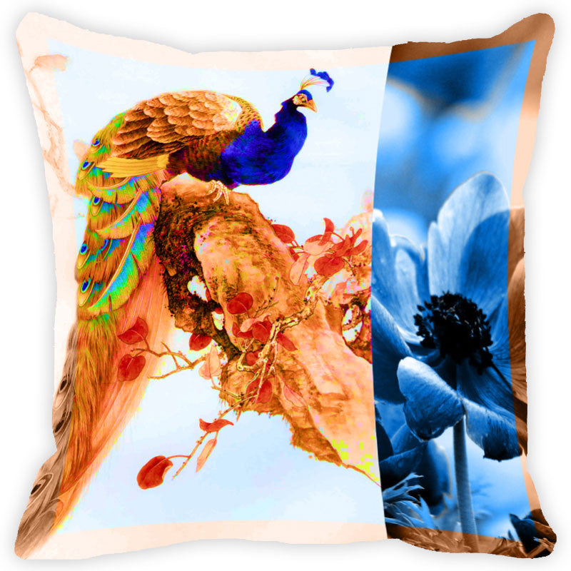 Leaf Designs Brown And Multicolour Peacock Feather Cushion Cover (A) - Set Of 2