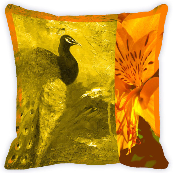 Leaf Designs Orange Peacock Cushion Cover