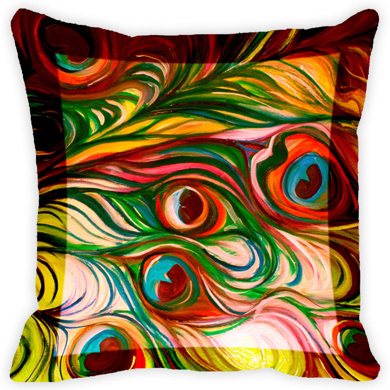 Leaf Designs Floral Peacock With Multicolour Feather Cushion Cover (B) - Set Of 2