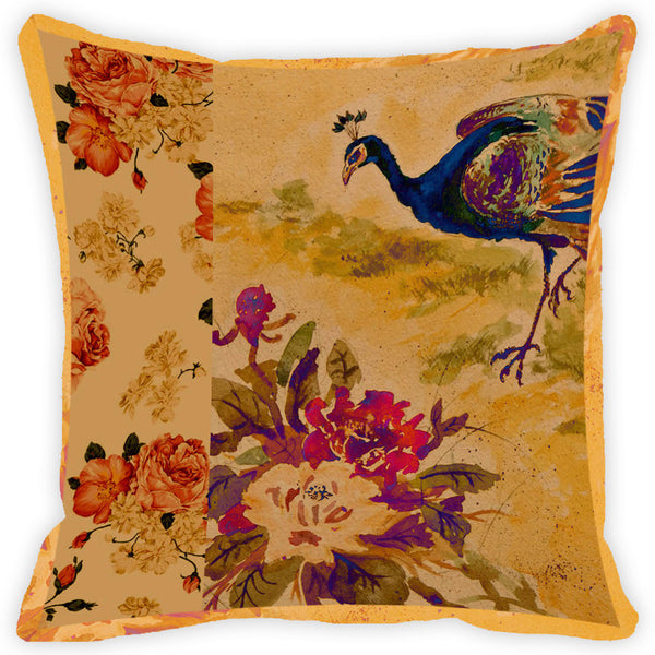 Leaf Designs Peacock With Floral Cushion Cover