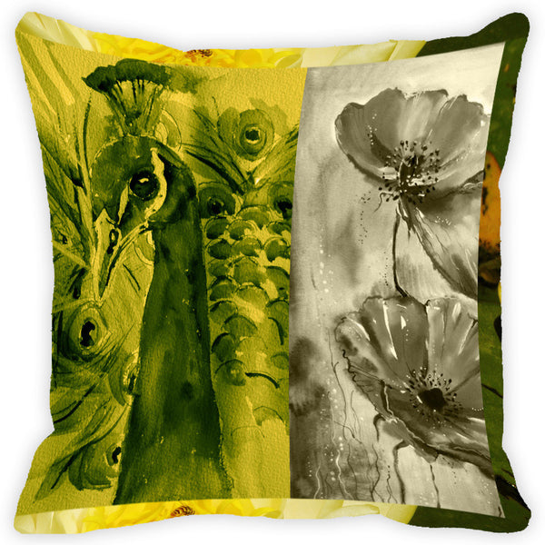 Leaf Designs Green And Multicolour Peacock Feather Cushion Cover (A) - Set Of 2
