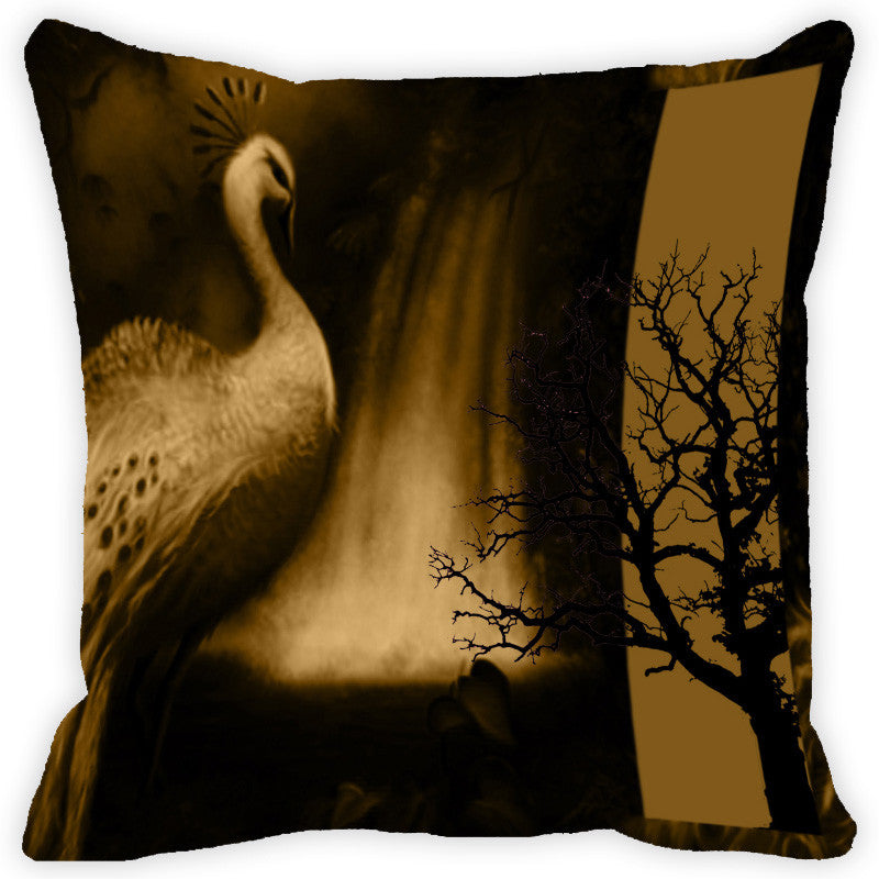 Leaf Designs White And Multicolour Peacock Feather Cushion Cover - Set Of 2