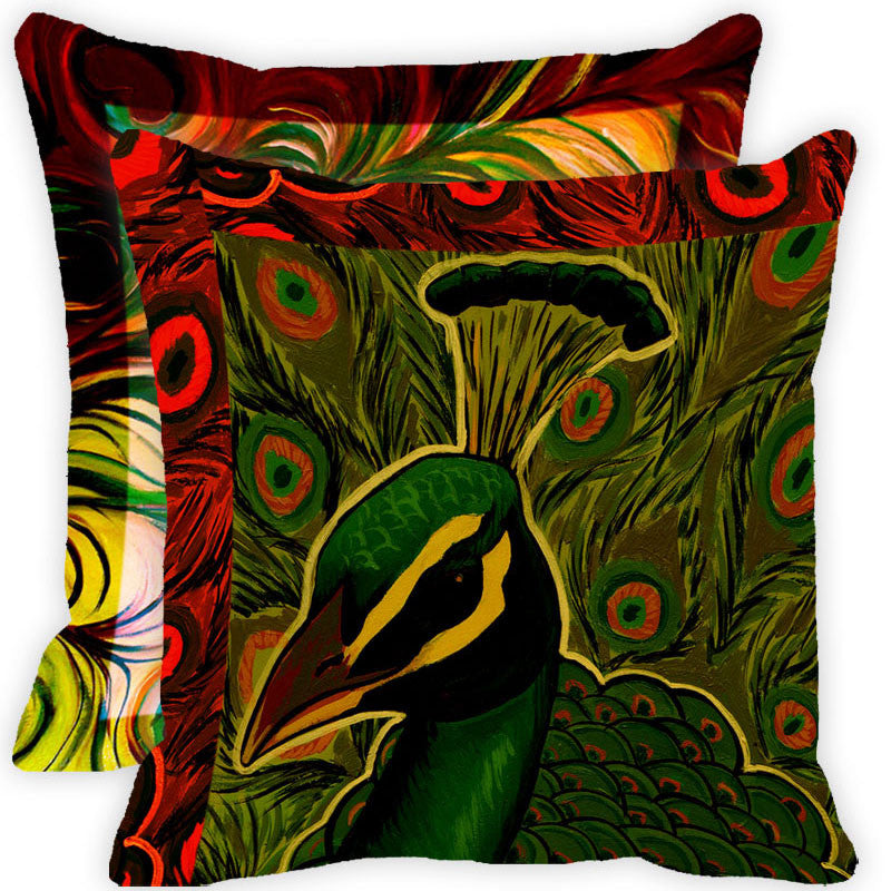 Leaf Designs Green And Multicolour Peacock Feather Cushion Cover - Set Of 2