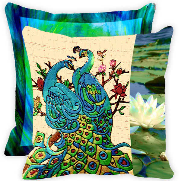 Leaf Designs Floral Peacock With Multicolour Feather Cushion Cover - Set Of 2