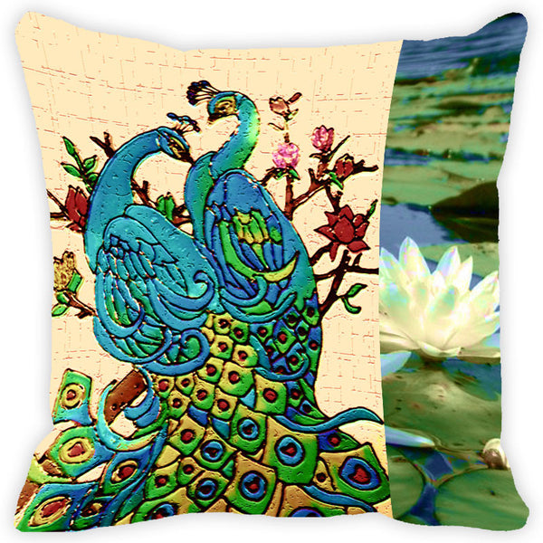 Leaf Designs Floral Peacock Cushion Cover (A)