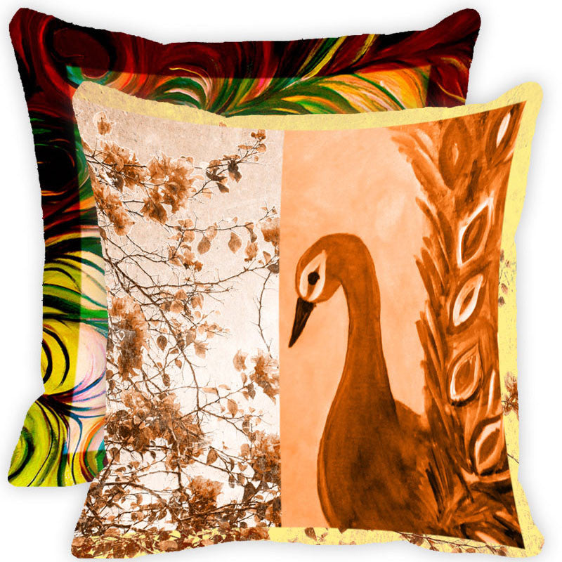 Leaf Designs Brown And Multicolour Peacock Feather Cushion Cover - Set Of 2