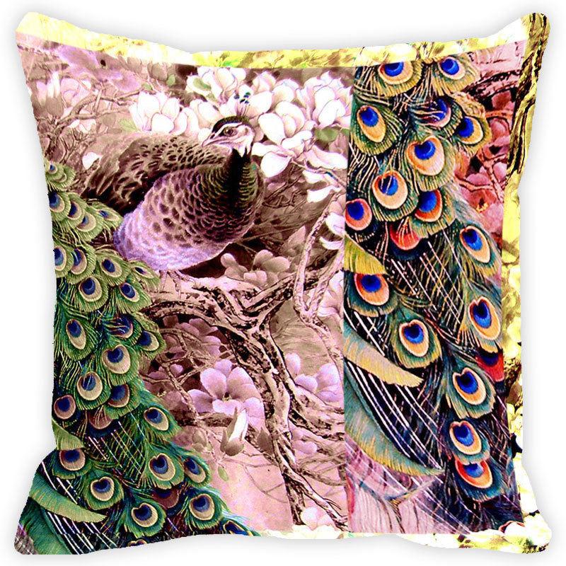 Leaf Designs Multicolour Peacock Cushion Cover (C)