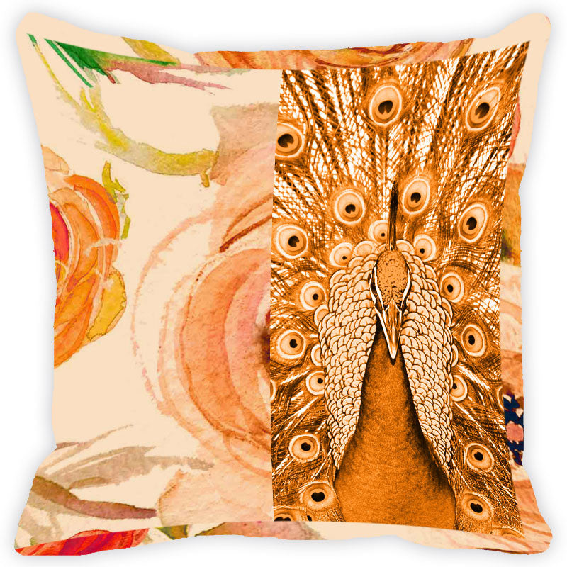 Leaf Designs Vintage Peacock Cushion Cover (C)