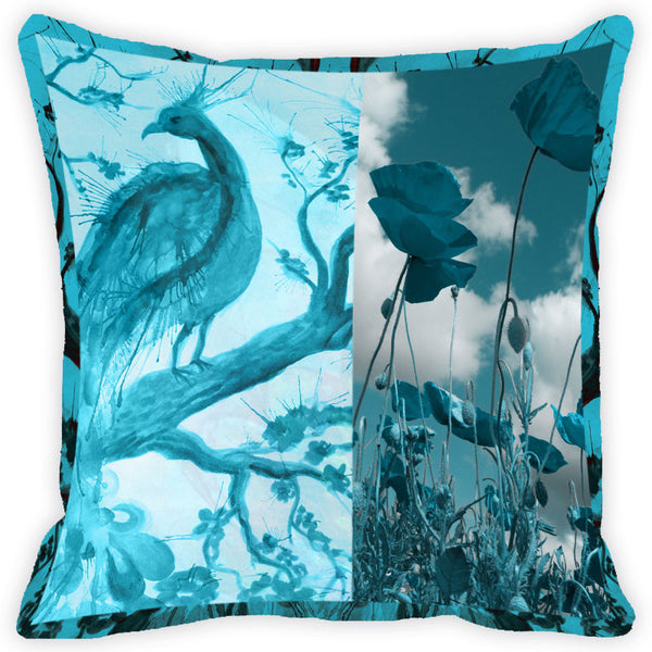 Leaf Designs Blue Peacock Cushion Cover (B)