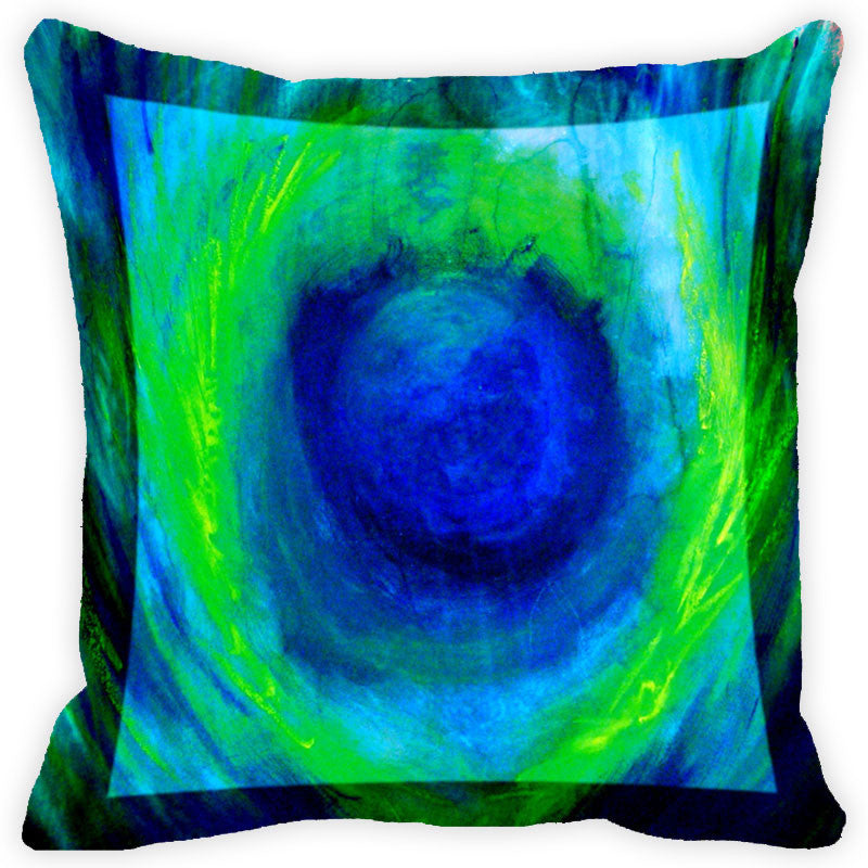 Leaf Designs Blue And Multicolour Peacock Feather Cushion Cover (C) - Set Of 2