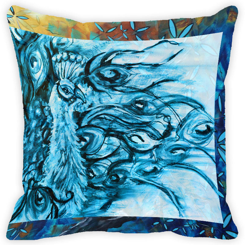 Leaf Designs Blue Peacock Cushion Cover (C)