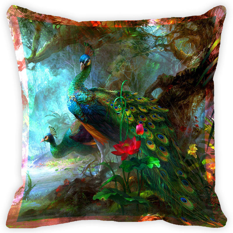 Leaf Designs Multicolour Peacock And Feather Cushion Cover (D) - Set Of 2