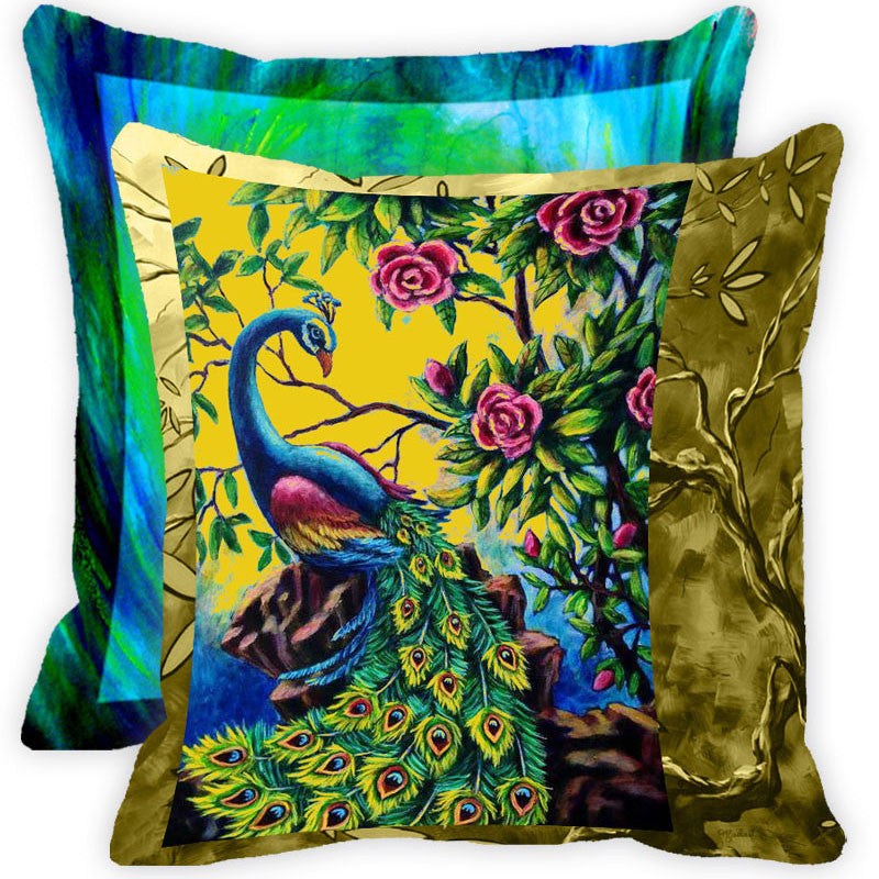 Leaf Designs Multicolour Floral Peacock And Feather Cushion Cover - Set Of 2