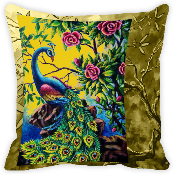 Leaf Designs Multicolour Floral Peacock Cushion Cover