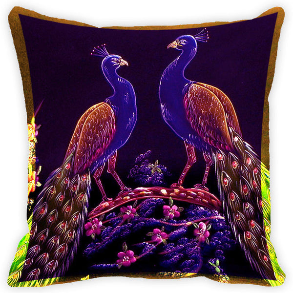 Leaf Designs Purple And Multicolour Peacock Feather Cushion Cover - Set Of 2