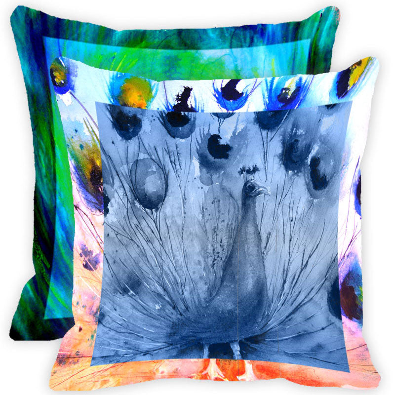 Leaf Designs Blue And Multicolour Peacock Feather Cushion Cover (D) - Set Of 2