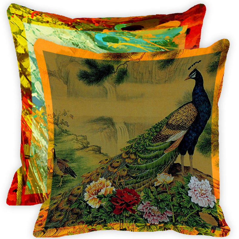 Leaf Designs Vintage Peacock With Multicolour Feather Cushion Cover - Set Of 2