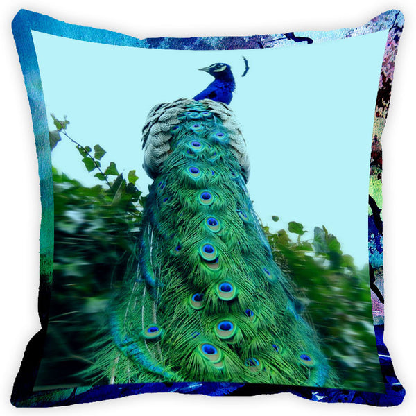 Leaf Designs Blue Peacock Cushion Cover (E)