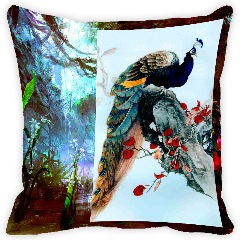 Leaf Designs Multicolour Peacock And Feather Cushion Cover - Set Of 2