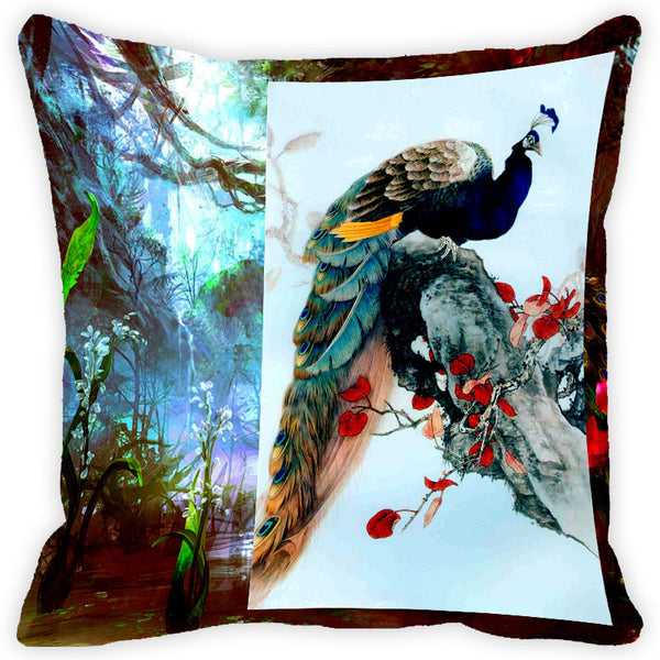 Leaf Designs Multicolour Peacock Cushion Cover