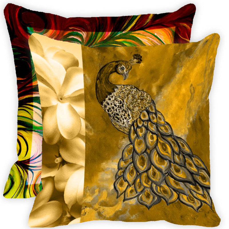 Leaf Designs Yellow And Multicolour Peacock Feather Cushion Cover (C) - Set Of 2