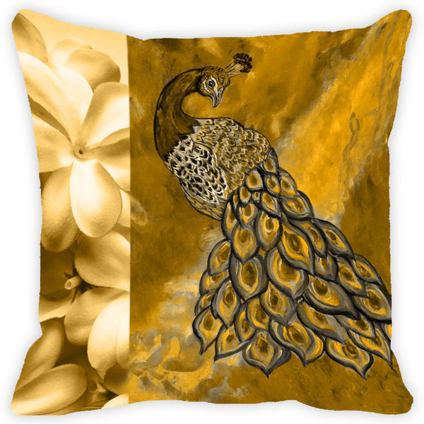 Leaf Designs Yellow Peacock Cushion Cover (C)