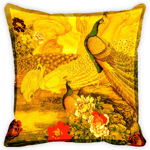 Leaf Designs Yellow And Multicolour Peacock Feather Cushion Cover (D) - Set Of 2