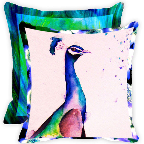 Leaf Designs Navy Blue And Multicolour Peacock Feather Cushion Cover - Set Of 2