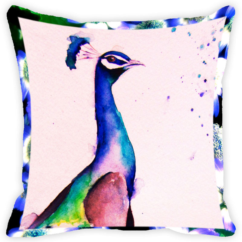 Leaf Designs Navy Blue Peacock Cushion Cover (A)